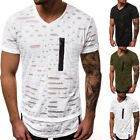 Men's Ripped Hole Striped  Casual Round Neck Short Sleeve T-shirts GIFT