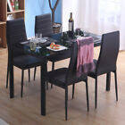 Dinning Table and 4/6Chair Set Rectangular Glass Gloss Finished Kitchen Room NEW