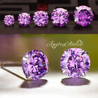 925 Sterling Silver Purple Amethyst Birthstone Round Stud Earrings Ear Piercing