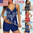 US Women Floral Tankini Set Swimsuit Top+Shorts Tummy Control Bathing Suit GIFT
