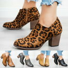 New Women's Fashion Pointed Toe Side Zipper Mid Chunky Block Heel Ankle Boot GIF