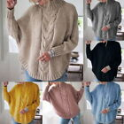New Women Turtleneck Knit Sweater Long Sleeve Pullovers Loose Solid Sweater GIFT