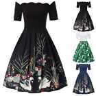 Womens 50s Style Vintage Retro Sexy Off Shoulder Evening Party Swing Dress S-2XL