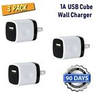 3pack White/Bl Cube USB 1A 5W Wall Charger for iPhone 6,6S,SE,5,7,8,X,XR [P3-6BW