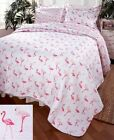 Flamingo Quilt Set Pillow Shams Bed Bedding Tropical Pink Flamingos Bedroom Deco image