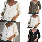 Women V Neck Sleeve Loose Tops  Chiffon Blouses Fashion Casual Solid Shirts