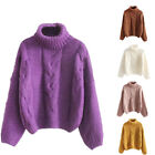 Women Solid Color Turtleneck Long Sleeve Knitting Pullover Keep Warm Sweater