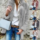 Fashion Women's Winter Faux Fur Coats Long Sleeve Fluffy Jacket Coat GIFT