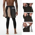 2019 Men 2 in 1 Security Shorts Quick Drying Gym Legging With Zipper Pocket GIFT