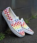 Brand New Vans Authentic Unisex Slip-On Rainbow Pride Checkerboard Skate Shoes