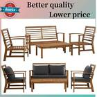 4 Pc Patio Acacia Wood Chair Sofa Table Set Outdoor Garden Furniture Cushioned