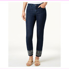 Charter Club Women's Belt Loops Mid Rise Bristol Skinny Embroidered-Ankle Jeans