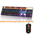 SADES K10 Gaming Keyboard USB Wired and S8 Gaming Mouse Backlit 2500 DPI for PC