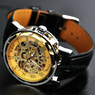 Men's Skeleton Mechanical Wrist Watch Steampunk Luxury Leather Stainless Brand image