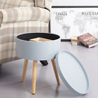 Coffee Table Side Table Furniture Round Storage Serving Tray Wood White /grey Uk