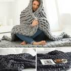 Winter Warm Chunky Knit Blanket Thick Yarn Merino Hand Woven Big Knitted Throw image