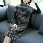 Women Winter High Collar Plaid Long Sweaters Loose Patchwork Knitting Dress top