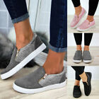 Womens Fashion Zipper Loafers Pumps Casual Slip On Flat Trainers Sneakers Shoes