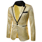 Men's Sequin Glitter Tuxedo Slim Fit One Button Suit Blazer Business Coat Jacket