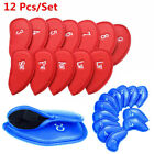 12 Pack Kit Golf Iron Head Covers PU Leather with Numbers Blue Red Colors Option