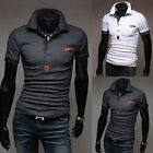 Men's Short Sleeve Polo Shirt Buttons Business Casual Golf Slim Fit T-Shirt Tops