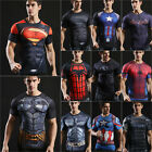 Mens Athletic T-Shirt Compression Gym Top Marvel Muscle Fitness Jersey Tee Shirt image