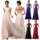 UK Sleeveless V-Back Chiffon Ball Gown Evening Prom Party Dress 8 -Size US 2~16