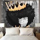 USA Black Hippie Tapestry Wall Hanging African Women Girl Crown Tapestry Decor