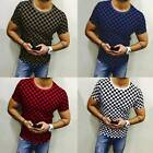 Mens Crew Neck Casual Shirt Tee Blouse Short Sleeve Summer Plaid T-shirts Tops L image
