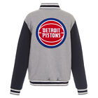 NBA Detroit Pistons Reversible Full Snap Fleece Jacket JH Design Gray Navy on eBay