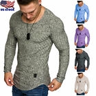Fashion Mens Slim Fit O Neck Long Sleeve Muscle Tee T-shirt Casual Tops Blouse image