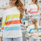 Women Rainbow Striped T-shirt Loose Casual Top Long Sleeve Fashion Tee Blouse