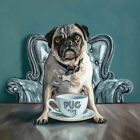 Pug and Coffee Mug Cafe Oil Painting Archival Giclee Print Poster Wall Art