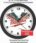 MILWAUKEE TOOLS AMERICA WALL CLOCK-PERSONALIZE IT FREE!