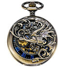 Men's Retro Treeweto Antique Dragon Mechanical Skeleton Pocket Watch Chain