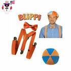TV Show Blippi Kids Cosplay Tie Bow Trousers Strap Braces Pants Hat Glasses US!