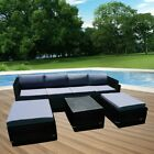 7 Pieces Rattan Garden 6 Seaters Furniture Outdoor Pation Sofa Stool Table Set