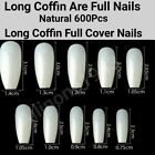 100/500/600Pcs Long Ballerina Coffin/Flat French/Stiletto/Almond False Nail/Tips