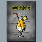 DRINKS AND COCKTAILS Metal Poster Wall Art PINA COLADA