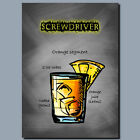 DRINKS AND COCKTAILS Metal Poster Wall Art SCREWDRIVER