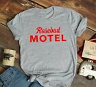 Schitts Creek Rosebud Motel Shirt Adult Sizing in Black and Grey