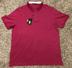NEW Bugatchi Mens Contrast Trim Short Sleeve Polo Berry $110 NWT FREE Shipping