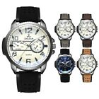 Fashionable Men's Leather Strap Army Sports Watch Analog Quartz Date Watch Gifts