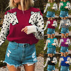 Women Knitted Cropped Sweater Leopard Pattern Long Sleeve Pullovers Loose Jumper