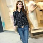 Women Summer Blouses Casual Long Sleeve Collar Chiffon Shirt Soft Ladies Office