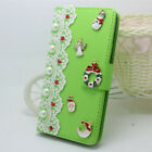 Bling Handmade Christmas Xmas leather soft Cases Diamonds Phone Cover For Huawei