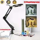 Large Desk Magnifier LED Lamp with USB 2.5X/5X Magnifying Glass Clamp Base New