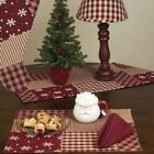 NEW!! Primitive Country Christmas Red Quilted Patchwork Table Runner & Placemats