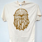 """STAR WARS """"Chewbacca"""" Inspired, COOL Line Drawing Ivory Men's T-Shirt, T-1536 $19.99 USD on eBay"""
