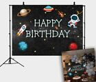 Little Astronaut Backdrop Cartoon Spacecraft Starry Sky Babies Birthday Backdrop